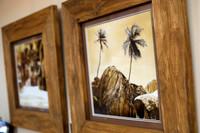 Pair of Heavy Carved Teak Framed sepia photographs SOLD