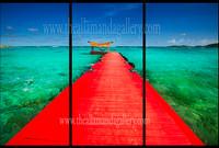 Red Dock, Necker Island- triptych