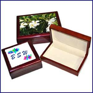 Lacquer jewelry box images with custom photo on tile lid or inscription of your choice.
