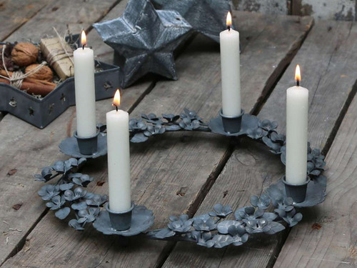 An Antique Styled French Metal Candle Table Wreath Candelabra Reproduction