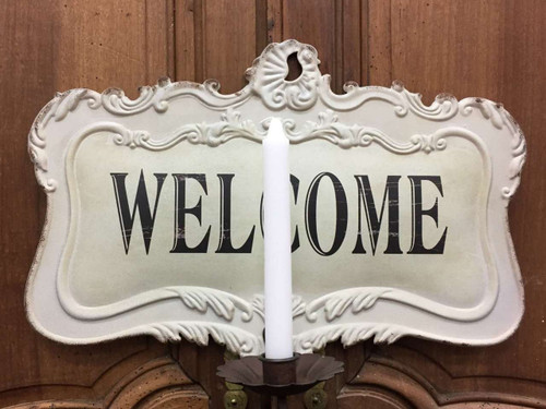 Antique Styled Reproduction Metal Welcome Sign with Candle Holder