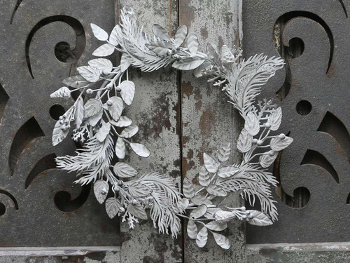 WREATH New Metal Antiqued White European Styled Leaves and Berries - w4