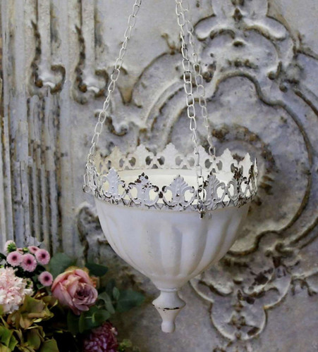 Hanging Flower or Plant Holder NEW White French Antique Style Metal - fp