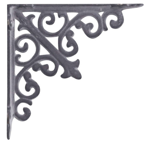 Pair of Antique Styled Cast Iron Shelf Wall Brackets Ornate Antique Black