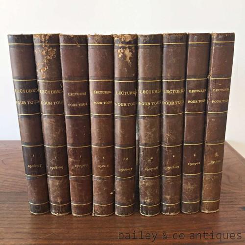 Antique French Books Set of 9 Nine Rare - Lectures Pour Tous - Hachette & Cie Books
