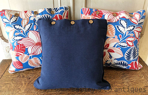 Cushion Covers Set of Three Floral & Navy Heavy Cotton NEW 40cm - HN