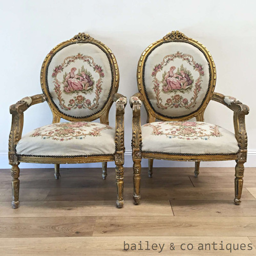 Pair of Antique French Gilt Armchairs Fauteuils Louis XVI - TT052
