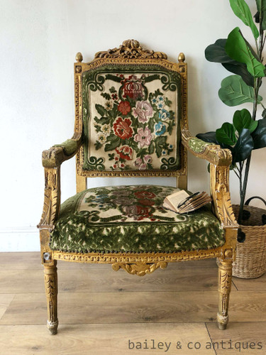 Antique French Gilt Armchair Louis XVI (1 of 2) Cut Velvet - TT050a
