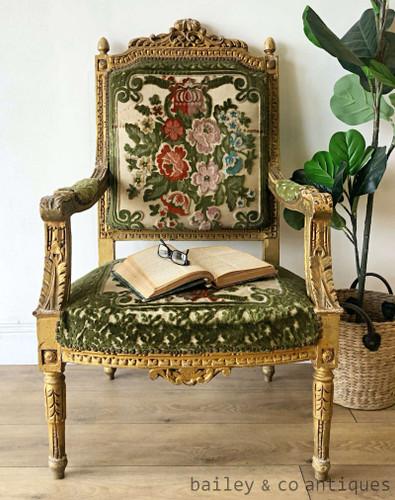 Antique French Gilt Armchair Louis XVI (2 of 2) Cut Velvet - TT050b