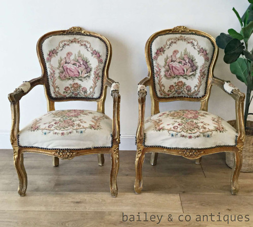 Pair Antique French Gilt Armchairs Louis XV Style Parlour - TT051