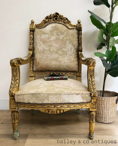 Antique French Armchair Louis Style Gilt Fauteuil (2 of 4) - TT044b