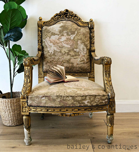 Antique French Armchair Louis Style Gilt Fauteuil (3 of 4)- TT044c