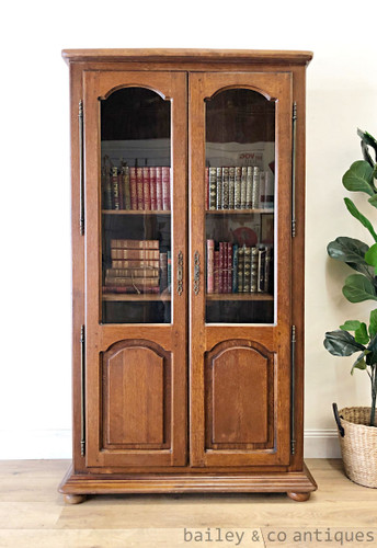 Vintage French Bookcase Oak Veneer Display Cabinet - TT074