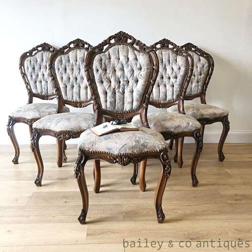 French Vintage Set Six 6 Louis XV Style Dining Chairs Carved - TT048