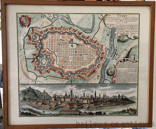 Vintage Map Turin Italy Framed - SF-MapTurin