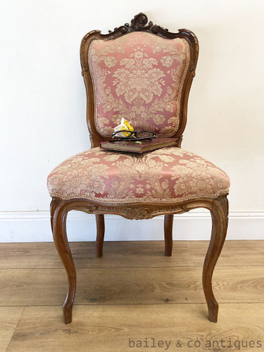 Antique French Parlour Suite Chair Louis Style Carved Walnut- SF112b