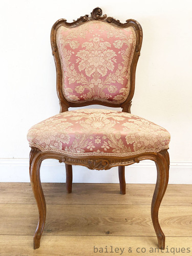 Antique French Parlour Suite Chair Louis Style Carved Walnut- SF112c