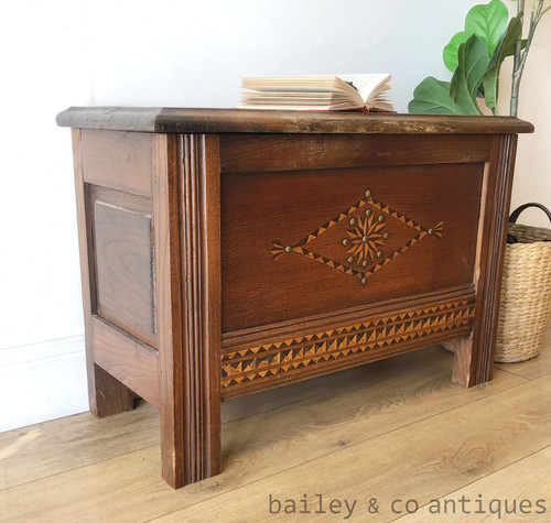 Antique French Rustic Chest Trunk Coffer Inlaid Chestnut - SF135