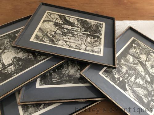 Set 6 Rare Antique or Vintage Prints Giovanni Piranesi Imaginary Prisons - SF148Piranesi