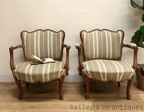 Antique French Dainty Petite Salon Armchairs Chestnut Louis Style - SF105