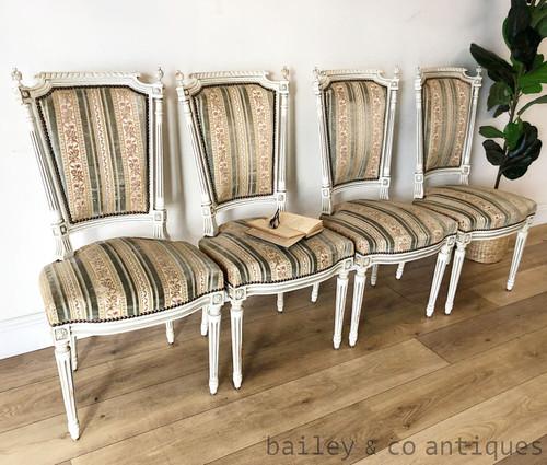 Set Four 4 Antique French Parisian Dining Chairs Louis XVI Style White - SF075