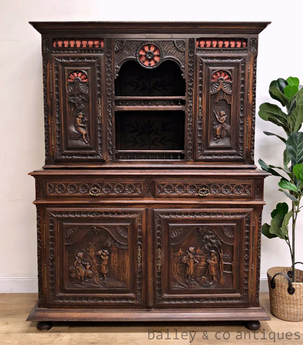 Antique French Heavily Carved Buffet Sideboard Cabinet Breton - SF048