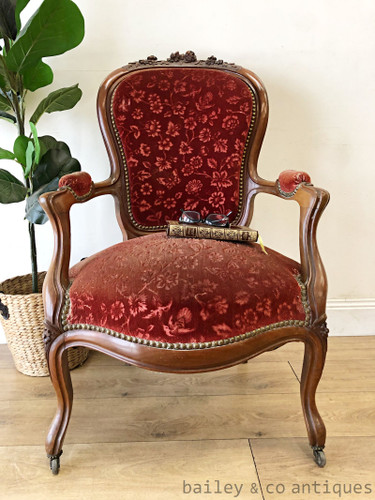 Antique French Parisian Fauteuil Armchair Louis Style Mahogany - SF125