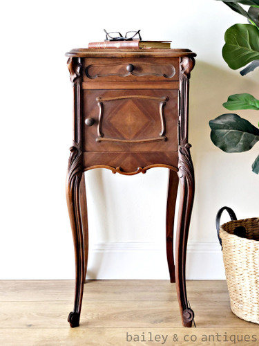 Antique French Side Bedside Table Cabinet Chevet Louis Style - SF019