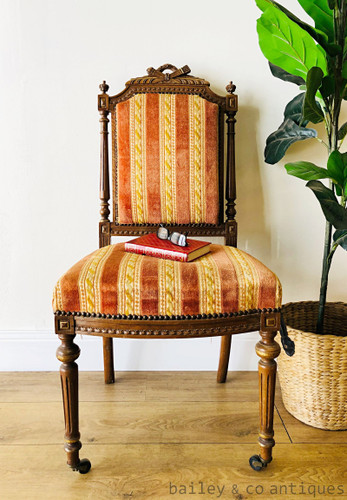 Antique French Parisian Parlour Chair Louis Style Carved - SFF222