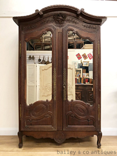 Antique French Marriage Armoire Mirrored Doors Shelves Linen Storage - RF145