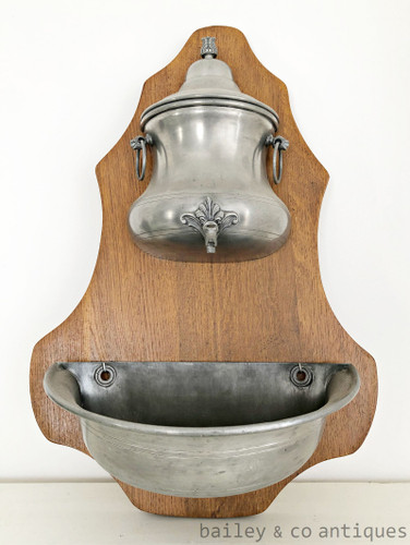 Antique French Pewter Fountain and Basin - QN594