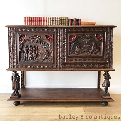 Antique French Breton Carved Buffet Sideboard Cocktail Drinks Cabinet - SF047