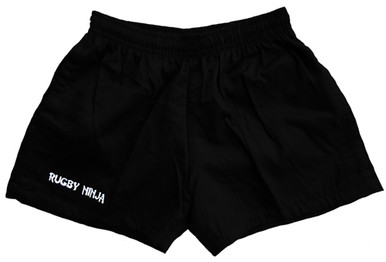 Cotton Rugby Shorts with Pockets - Black