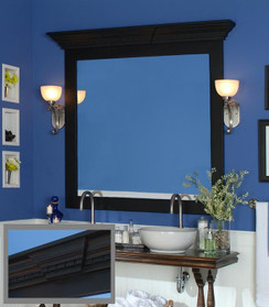 The Roanoke Mirror Frame Cornice feature a keystone and dentil molding
