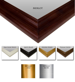 Paint and Stain samples shown here on our Chelsea Mirror Frame