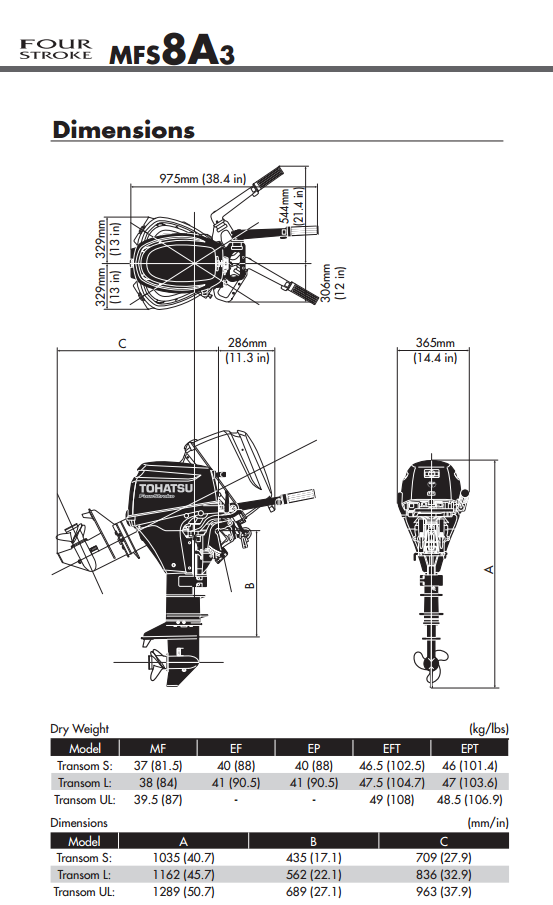 Tohatsu 9.8hp four stroke outboard