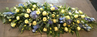 Blue and ivory coffin Spray