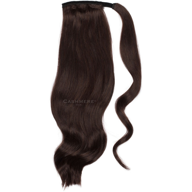 Dark Brown 20 Inch Wrap Ponytail. Real Human Remy Hair.