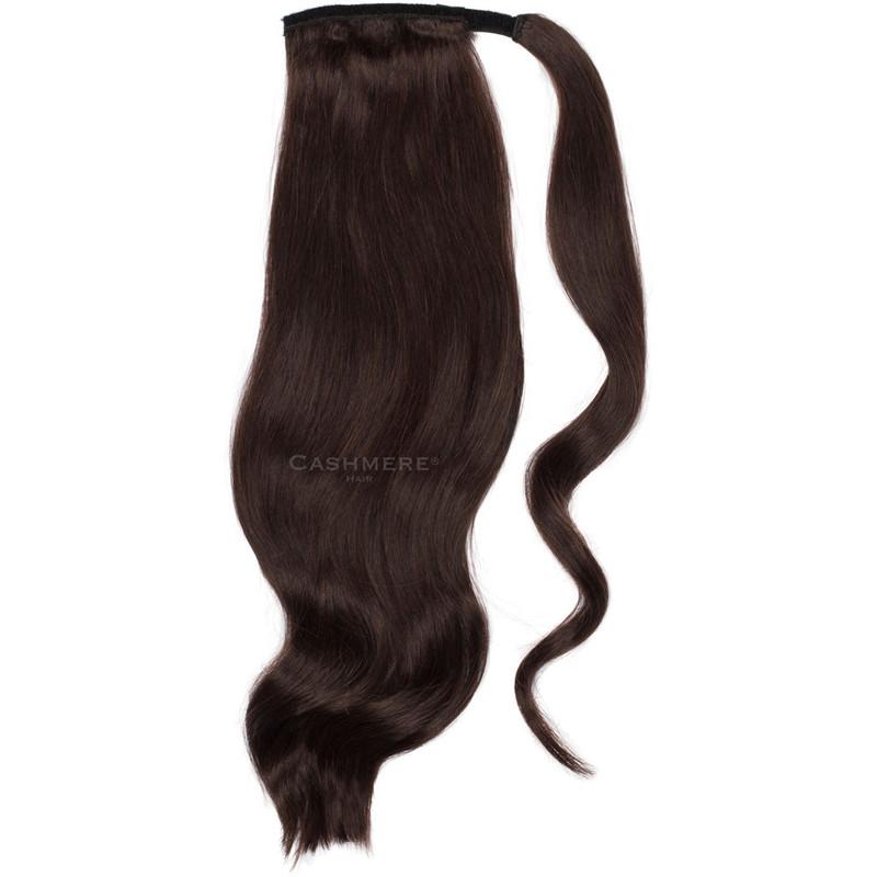Dark Brown 20 Inch Wrap Ponytail. Real Human Remy Hair.