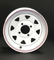 Silverstone 12x4 Wheel  White Wheel  Bolt Pattern: 4 on 4  Max Load: 1220 lbs