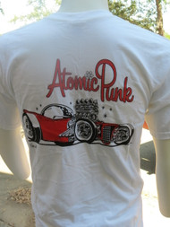 Aaron Grote's phenomenal Atomic Punk appears on the back of this white t-shirt.