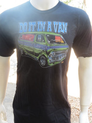 "Dirty Donny seventies era custom van artwork with ""Do it in a Van"" mantra appears on the front. Rear of shirt is blank."