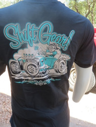 Shift Gear! with 1929 Ford Model A roadster art by Ger Peters appears on the back.