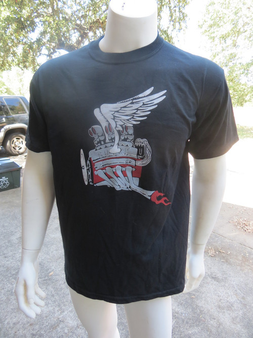 This black,100% cotton t-shirt is emblazoned with a Buick Nailhead in glorious flight. Be the envy of your gearhead pal when you show up in this bad boy. Limited edition. Better step on it.