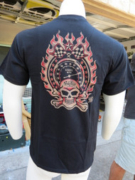Speedometer, skull and crossbones encircled in flames appears on back. Hot.