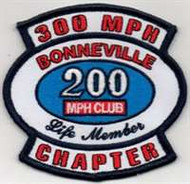 Very collectible 300 MPH CHAPTER - 200 mph BONNEVILLE Life Member embroidered patch, with iron on backing