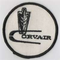 "Vintage round Corvair embroidered patch. 3"" Diameter,"