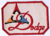 "3 1/2"" Wie b 2 1/2"" Tall, a vintage DODGE patch in excellent condition. Vintage sew-on application, bright colors, red, blue, yellow and black cream canvas."