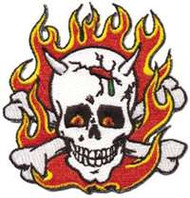 "KOZIK Flaming Skull Embroidered, Iron On Patch 3"" x 3"""