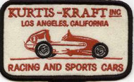 """KURTIS-KRAFT, INC. LOS ANGELES, CALIFORNIA RACING AND SPORTS CARS Vintage Reproduction Embroidered Patch. 2 1/2"""" x 4 1/2"""""""